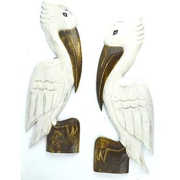2 HAND CARVED SET OF WHITE WOOD PELICANS WALL ART HANG ON WOOD PILING, TROPICAL NAUTICAL DECOR
