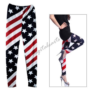 New Women Stars and Stripes USA Full Length Ladies American Flag Leggings Slim Fit 5867 (Color: Multicolor) = 1712518148