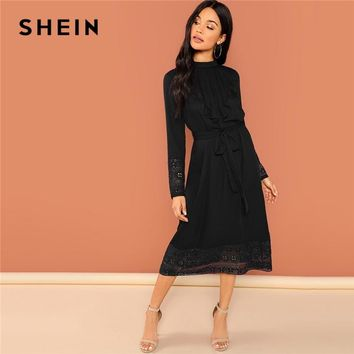SHEIN Black Elegant Pleated Ruffle Trim Contrast Lace Stand Collar Trim Dress Modern Lady Women Dresses
