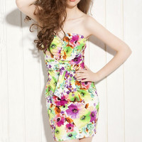 PRINTED CHEST WRAPPED PACKAGE HIP DRESS