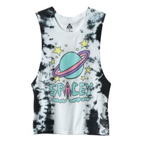 Jac Vanek x Element Spacey Planet Rocket Black & White Tie Dye Muscle T-Shirt