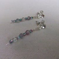 Rainbow Moonstone and Crystal Dragonfly and Dogwood Earrings