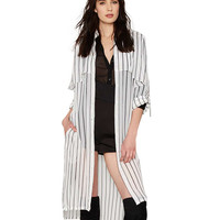 Plus Size Vertical Stripe Longline Chiffon Blouse