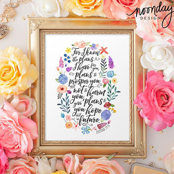 Jeremiah 29:11 Art Print, Scripture Art Poster, Graduation Gift, Bible Art Print, Hope and a Future, Encouragement