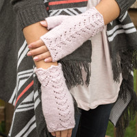 Pink Lace Fingerless Gloves Mittens  Hand Crafted,  50 Percent Angora 50 Percent Lambswool