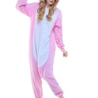 New Adult Anime Kigurumi Pajamas Animal Pink Rabbit Men Women Sleepwear Jumpsuit Sleepsuit Onesuit Halloween Cosplay Costumes