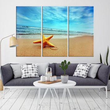 26401 - Starfish on the Beach Wall Art Canvas Print
