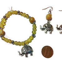 Yellow Elephant Bracelet, Safari bracelet, beaded jewelry, stocking stuffers, fall fashion, charm bracelets, elephant earrings, jewelry set