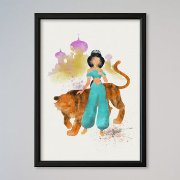 Jasmine Aladdin Rajah Poster Watercolor print Disney Jasmine Castle Illustration Kids Nursery Art Aladin