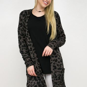 Animal Print Open Front Pocket Cardigan