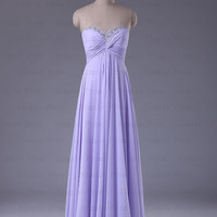 New Arrival A-line Sweetheart Floor-length Sleeveless Chiffon Long Prom Dress Bridesmaid Dress Evening Dress Party Dress 2013 With Beading