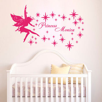 Wall decal art decor decals sticker Personalized Name Fairy Tinkerbells Princess Mural L654 Unique Design for Girl Nursery  Room