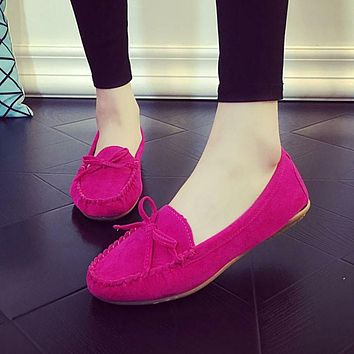 Spring Autumn Women Ballets Flats Bow Boat Shoes Car Shoes Candy Color loafers Shallow Slip on Flat shoes Zapatos mujer