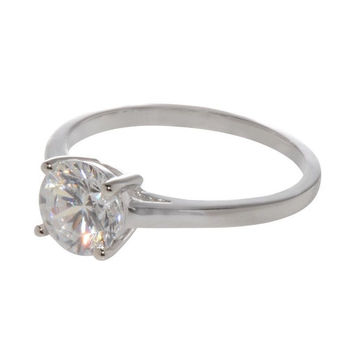 Sterling Silver Solitaire Ring Engagement 7mm Clear Round 1.25ct CZ Cubic Zircon