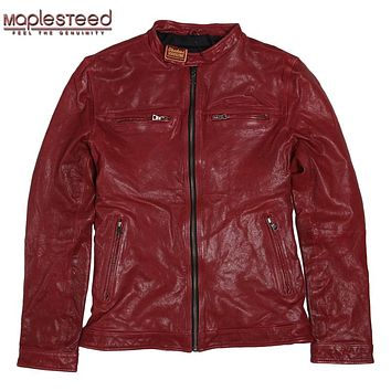 Factory Vegetable Tanned Sheepskin Leather Jacket Men Genuine Leather Jacket Slim Fit Soft Bomber Men's Leather Coat Autumn F082