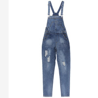 Women Distressed Ripped Overall Buttoned Four-Pocket Construction Loose Bib Overalls Women Dungarees Salopette Autumn New 2016