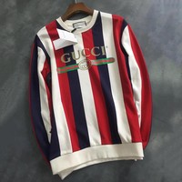 GUCCI Stripe Print Woman Men Fashion Top Sweater Pullover