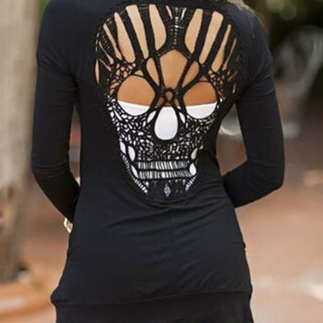 Back Skull Long-sleeved Knitted Cardigan