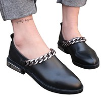 New Flats Women Four Seasons 2018 Casual black Shoes pointed Women Flat Leather shoes Fashion Leather Flats Women Oxford Shoes