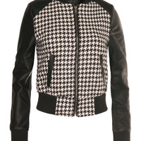 Womens Houndstooth Pattern Zip Up Jacket with Faux Leather Sleeve