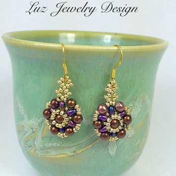 Super duo beaded earring\