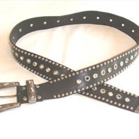 Cache Black Leather Belt Rhinestones