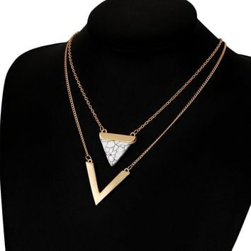 Triangle Double Layer Pendant Necklace