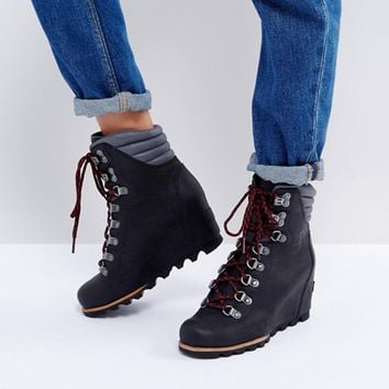 Sorel Conquest Black Wedge Lace Up Boots at asos.com