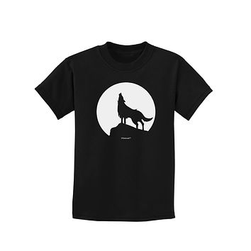 Wolf Howling at the Moon - Design #1 Childrens Dark T-Shirt by TooLoud