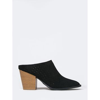 Perforated Slide On Mules