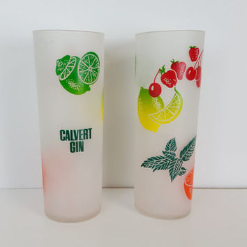 Set of 2 Vintage Fruit Pattern Cocktail Glasses Calvert Gin, Retro Frosted Glass with Fruit Juice Glasses, Frosted Glass Water Tumblers