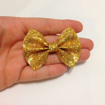 Mini Yellow Gold Glitter Canvas Hair Bow on Alligator Clip - 2.5 Inches Wide - AFFORDABOW Line - Affordable and High Quality Hair Bows