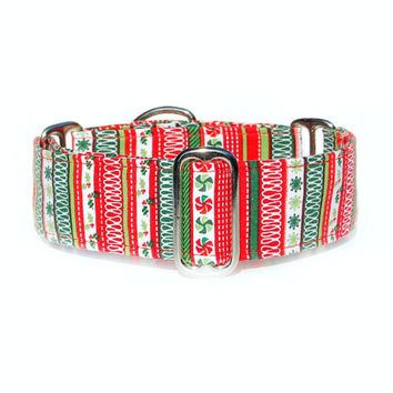 Wide Christmas Martingale Dog Collar (Clip or Tag/ID Collar Options Too). Small, Medium, Large or Extra Large.