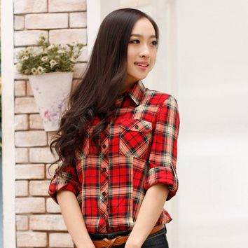 Spring and Fall Women Plaid Blouse Long Sleeve  Plaid Shirt Slim Fit Work Street Style