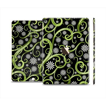 The Green Floral Swirls on Black Skin Set for the Apple iPad Pro