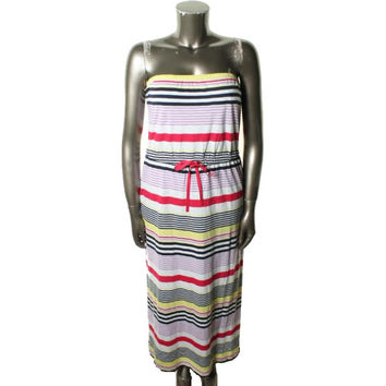 Tommy Hilfiger Womens Modal Blend Striped Maxi Dress
