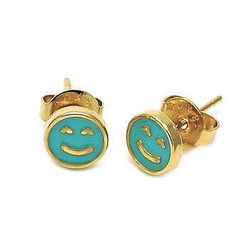 Gold Layered Stud Earring, Smile Design, Gold Tone
