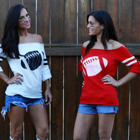 Old-School Football Off the Shoulder Sweaters. Sizes S-XL. Red or White with Your Choice of Football Color!