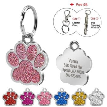 Glitter Paw Pet ID Tags Customized Engraved Dog & Cat Paw Print Tag Personalized Name Phone Number Tag