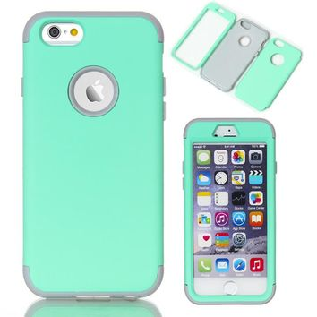 For Cover Apple iPhone 6 6S 4.7 Phone Cases Soft Rubber Silicone Hybrid Case Covers Fundas w/Screen Protector Film+Stylus Pen