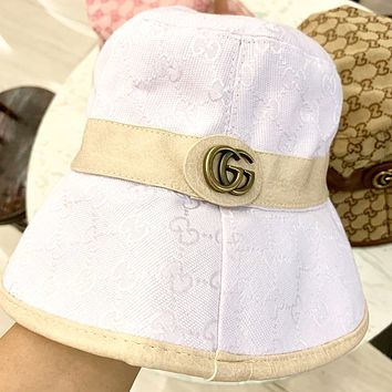 GUCCI 2019 new leather edging high-end fisherman hat White