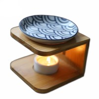 Ceramic Plate & Bamboo - Oil Burner