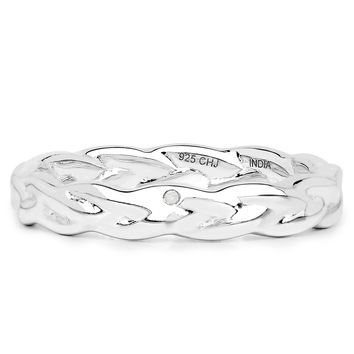 LoveHuang 0.02 Carats Genuine White Diamond (I-J, I2-I3) Twisted Ring Solid .925 Sterling Silver With Rhodium Plating