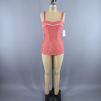 Vintage 1950s JANTZEN Swimsuit / Red Orange Plaid Gingham