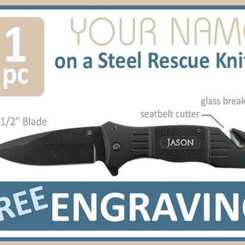 Groomsmen Gift 1 PERSONALIZED Knife Engraved Knife Custom Knife Engraved Pocket Rescue Knife Hunting Knife Groomsman Gifts Gift for Men