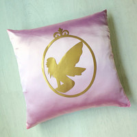Hand Cut Gold Fairy Cameo Pink Decorative Pillow Case.Girls Room Decor