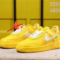 OFF White x Nike Air Force 1 AF1 Low Dark Yellow With Silver Logo Sneakers