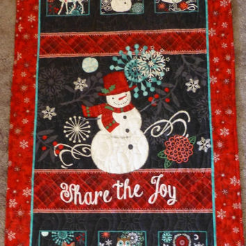 25% OFF Christmas SALE - Christmas Wall Hanging, Quilted, Decorated Wall Hanging Share the Joy, Cute Snowman, Snowflakes, Fast Shipping