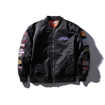 kanye west Pilot Bomber Embroidery Jacket air force one brand clothing masculina autumn and winter new mens windbreaker army jacket