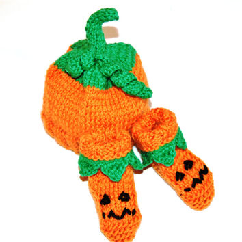 Baby Pumpkin Hat and Booties NEWBORN Ready To Ship